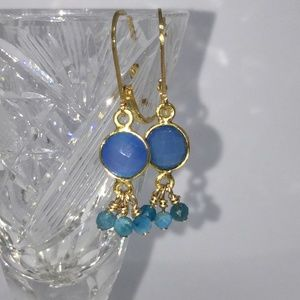 Blue Chalcedony With Natural Apatite 14K GF Dangle
